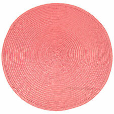 34cm Round Pink Woven Fabric Placemats Table Setting Place Mats Dining Room 6 X Placemats