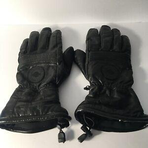 Harley Davidson Men's Black Leather Gore-Tex Motorcycle Riding Gauntlet Gloves L