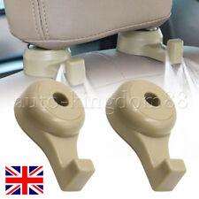 2x Beige Auto Accessories Seat Back Headrest Holder Hanger Hook For Bag Parts UK