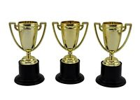 3x Novelty Winners Trophies Plastic Gold Winner Cup Party Game Favors