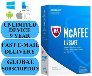 McAfee LiveSafe UNLIMITED DEVICE 9 YEAR (SUBSCRIPTION) 2021 NO KEY CODE!