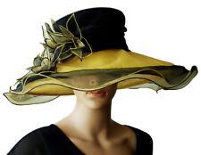 Elegante Sombrero Mujer Rojo Amarillo Lirio Organdí Nupcial Organza Boda