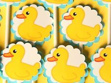30 BABY DUCK  Cupcake Toppers Birthday Party Favors, Baby Shower Decoration 30