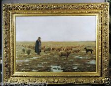 Sheep Herder 19th Century Oil Painting signed Charles Schreyvogel (AMERICAN)