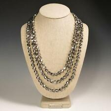 """72"""" Faceted Metallic Silver Crystals Beaded Extra Long Strand Necklace Elegant"""