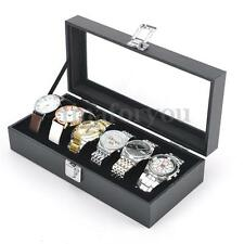 6 Grid Slots Jewelry Watches Display Storage Collection Box Organizer With Cover