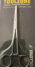TOOLZONE 150mm STRAIGHT FORCEPS , LOCKING, SERRATED JAWS, STAINLESS STEEL