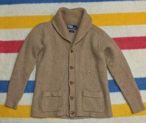 VTG 90s Polo Ralph Lauren 100% Wool Tan Button Shawl Cardigan Shawl M
