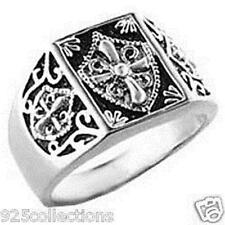 925 Sterling Silver Knights Templar Crest No Stone Black Enamel Men Ring Size 14