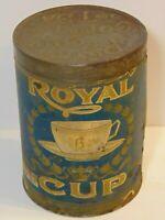 Old Vintage 1920s ROYAL COFFEE TIN GRAPHIC TALL 1 POUND CAN BIRMINGHAM ALABAMA
