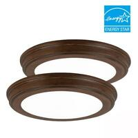 13 in. Brown Wood Color Changing LED Ceiling Flush Mount (2-Pack) by Commercial