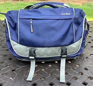 Sling Shoulder LL Bean Messenger Bag Blue Adjustable Strap Poly/Nylon EUC