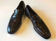 Salvatore Ferragamo New Men's Pablo Brown Crocodile Leather Loafers Size 10.5