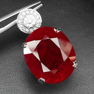 RUBY PIGEON BLOOD RED OVAL 56.50 CT.SAPPHIRE 925 STERLING SILVER PENDANT WOMEN