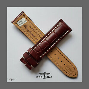 ☆NEW BREITLING ☆22-20MM☆ BURGUNDY CROCODILE STRAP 735P FOR TANG BUCKLE☆