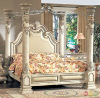 Traditional King Antique White Leather Upholstered Poster Canopy Bed w Nailheads