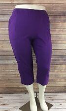 Catherines Suprema Knit Capri Pant 3XWP 26/28WP Purple Elastic Waist Pull On NEW