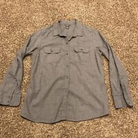 eddie bauer womens L gray button up shirt long sleeve a24