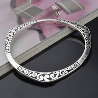 925 Silver Plated Carved Cuff Bangle Bracelet Charm Women Men Jewelry Gift New