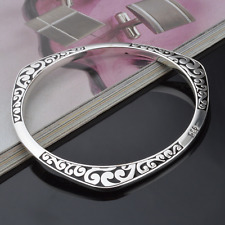 Unisex 925 Sterling Silver Plated Carved Bangle Wristband Bracelet Jewelry Gift