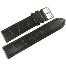 20mm Mens Fluco Made in Germany Black Crocodile-Grain Leather Watch Band Strap
