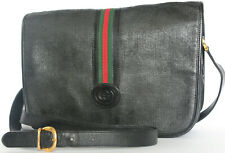 GUCCI~Ophidia Black Leather Crossbody green red Supreme messenger gold GG Bag