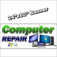 COMPUTER REPAIR BANNER cell phone we fix ipad tablet blue green 24x60