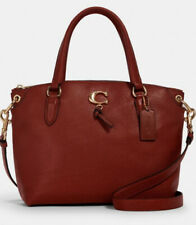 COACH REMI Pebbled Leather Satchel Terracotta Red 1317 NWT $398
