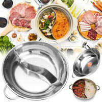 2 Type 38cm Stainless Steel Hot Pot Induction Compatible Shabu Cooker Cookware