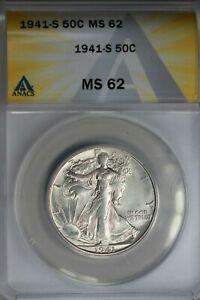 1941-S  .50   ANACS  MS 62  Walking Liberty, Half Dollar, Lady Liberty Half