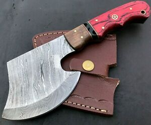 Handmade Axe Damascus Steel Viking Axe-Camping-Outdoors-Leather Sheath-MD144