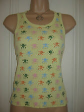 Billabong size S (approx. 8) yellow vest multi-coloured skull and crossbones