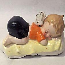 Vtg Napco? Barefoot Boy Angel On A Bed Sleeping Xmas Figurine Japan Bottom Up