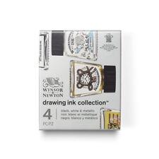 Winsor & Newton Drawing Ink Collection 4 x 14ml - Black, White & Metallic Set