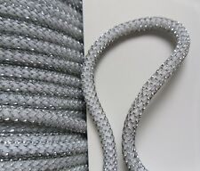 Stunning 4 MM Metallic Silver / White Twisted Cord / Rope / Trim- 5 Yards (T732)