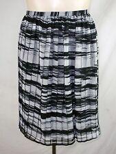 Calvin Klein Black White Striped Pleated Knee Length Skirt Plus Size 1X 14W 16W