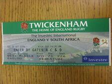 02/12/2000 Rugby Union Ticket: England v South Africa [At Twickenham] (folded)
