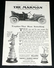 1910 OLD MAGAZINE PRINT AD, MARMON TOURING AUTOMOBILE, VANDERBILT TROPHY WINNER!