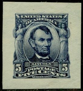 """#304P2 """"LINCOLN"""" XF-SUPERB SMALL DIE ON WHITE WOVE PAPER BQ2871"""