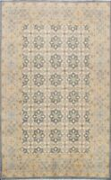 All-Over Khotan Geometric Oriental Area Rug Vegetable Dye Hand-knotted Wool 6x9