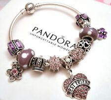 Authentic Pandora Silver Bracelet With Purple Best Friend Heart European Charms.