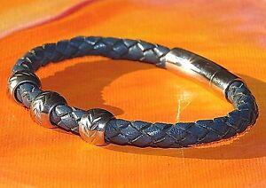 Mens / ladies Dark Blue leather & stainless steel bracelet by Lyme Bay Art