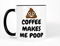 Poo Emoji Coffee Makes Me Poop Mug, Black and White Funny Cup Gift for Him Her