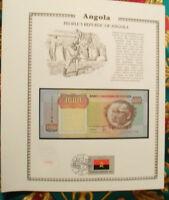 Angola Banknote 1000 Kwanzas 1991 P-129b sig 17 UNC  w/FDI UN FDI FLAG Prefix CA