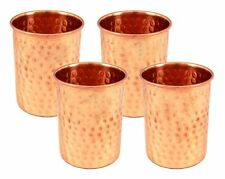 Handicraftscart  Pure Copper Hammered Tumblers Glasses Set of 4 Capacity 350 ML
