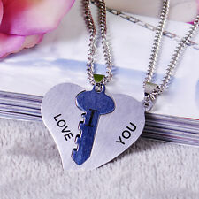 Couple Stainless Steel I Love You Lock Key Heart His Hers Lover Pendant Necklace