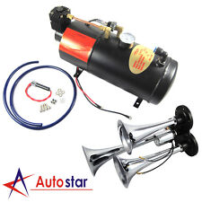 3 Triple Compact Train Air Horn with 150 PSI 3 Liter Air Compressor