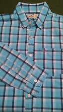 Mens Hollister Blue Check Shirt Long Sleeve Button Down Collar Size Medium