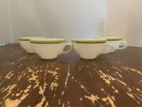 Vintage Pyrex Lime Green With Gold Trim Coffee Cup Set Of 4 D