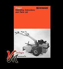 Howard Dragon Rotavator / Rotovator Operator Instructions and Parts List
